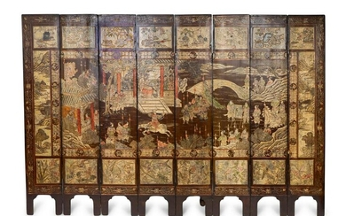 A Chinese Coromandel Lacquer Eight-Panel Screen Height
