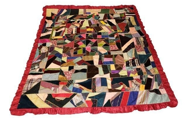 A Late 19th Century Crazy Patchwork Bed Cover, incorporating coloured...