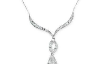 A PEARL AND DIAMOND PENDANT NECKLACE the stylised body