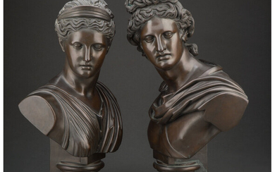 A Pair of Bronze Neo-Classical Busts
