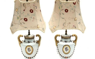 A Pair of Chinese Export Style Porcelain Table Lamps