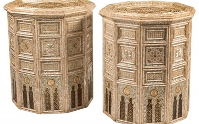 A Pair of Moorish Mother of Pearl Inlaid Decagon