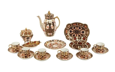 A SET OF SIX ROYAL CROWN DERBY COFFEE CANS AND SAUCERS, EARLY 20TH CENTURY