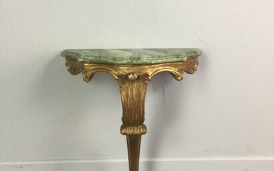 A SMALL GILT-WOOD CONSOLE TABLE WITH FAUX MARBLE TOP