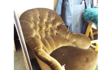 A vintage button back parlour chair having brown upholstery ...