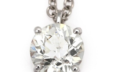 NOT SOLD. A diamond necklace with a pendant set with a diamond weighing app. 0.91 ct., mounted in 18k white gold. Top Cape/SI. L. app. 42.5 cm. – Bruun Rasmussen Auctioneers of Fine Art