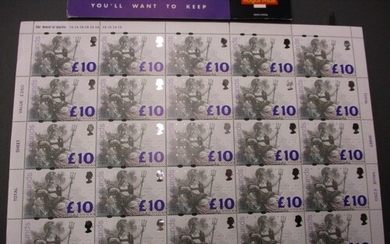 A full sheet of 25 £10 stamps. In mint, unused condition