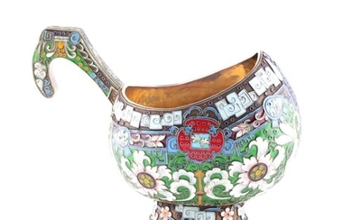 A large Russian silver gilt and enamel kovsh bowl, with vivi...