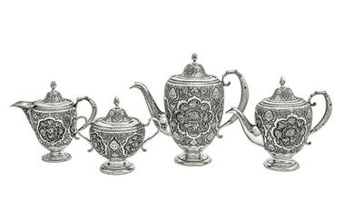A mid-20th century Iranian (Persian) silver four-piece