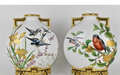 A pair of 19th century Royal Worcester porcelain moon flask ...