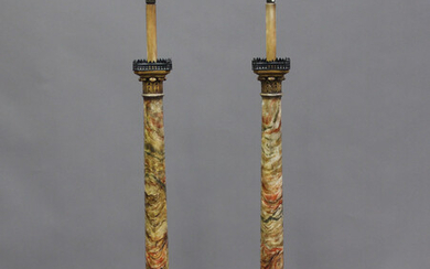 A pair of early/mid-20th century painted faux marble and gilt painted lamp standards of classical co