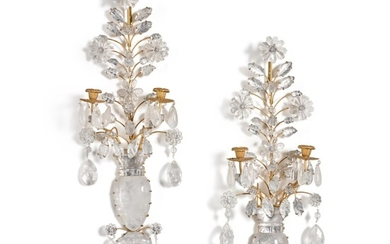 A pair of gilt-metal and rock crystal two-light wall appliques, modern, in the manner of Maison Baguès