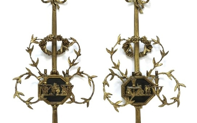 A pair of giltwood and gesso girandole wall lights