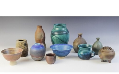 A selection of studio pottery ware, to include; a stoneware ...