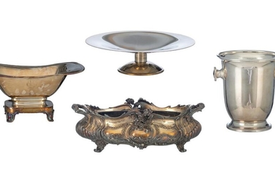 A silver-plated Christofle Biedermeier style fruit basket; a ditto fruit plate; a silver-plated ice bucket and a ditto rococo style plated jardiniere