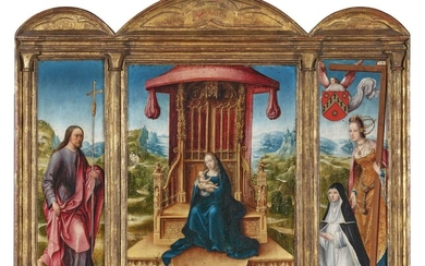 A triptych: The Virgin and Child enthroned in a landscape contiguous with the wings (central panel); Saint Philip (left wing); St Helen and a Donatrix in the habit of a Benedictine nun (right wing), The Master of the Magdalene Legend