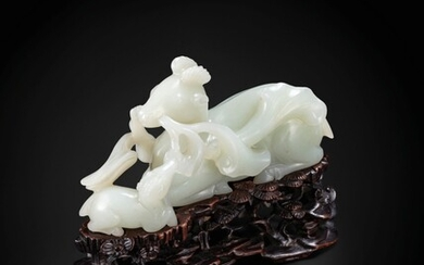 A very fine and rare Chinese jade carving of a recumbent deer and fawn, lu Late Ming dynasty-Qing dynasty | 明晚期至清 青白玉鹿銜靈芝擺件 , A very fine and rare Chinese jade carving of a recumbent deer and fawn, lu Late Ming dynasty-Qing dynasty | 明晚期至清 青白玉鹿銜靈芝擺件
