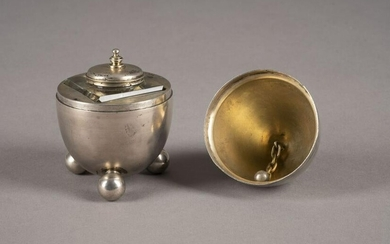 AN EGG-SHAPED INKWELL AND TABLE BELL