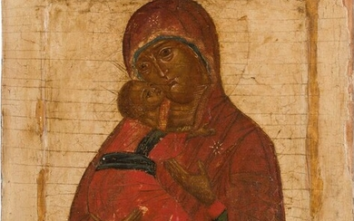 AN ICON SHOWING THE VLADIMIRSKAYA MOTHER OF GOD Russian,...