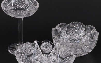 American Brilliant Style Glass Serving Bowls and Compote