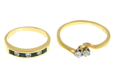 An 18ct gold diamond ring and an emerald and diamond half eternity ring.