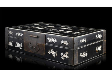 An ebonized wood box, bone inlaid with figures and pagodas in a landscape with clouds (slight defects) China, Qing dynasty…Read more