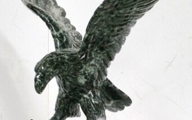 Antique Chinese Asian Black White Nephrite Carved Eagle
