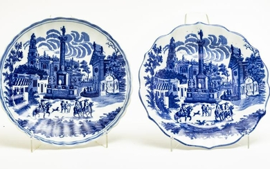 BLUE AND WHITE PORCELAIN CHARGERS, TWO PIECES