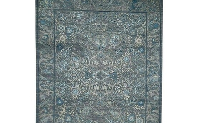 Blue Transitional Kashan Design with Wool and Raised