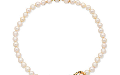 CARTIER: CULTURED PEARL AND DIAMOND 'PANTHÈRE' NECKLACE