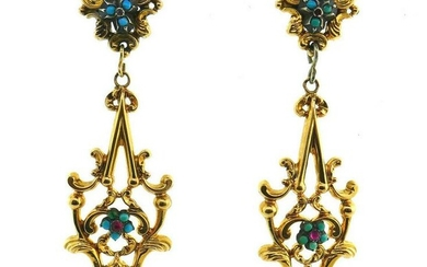 CHIC Victorian Antique Turquoise Flower Ruby 14k Yellow