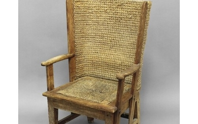 CHILD'S ORKNEY CHAIR with a pine frame and woven curved back...