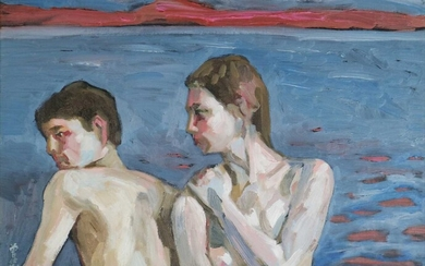 Chinese School (20th Century) Nude Couple Before a Lakeside