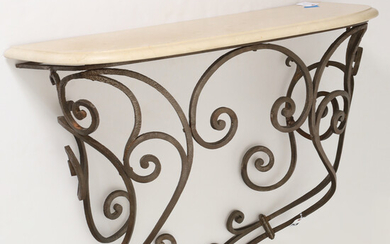 Designer marble top wrought iron wall console