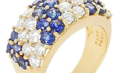 Double Diagonal Sapphire and Diamond Cocktail Ring, 18