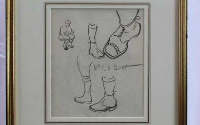 Early 20th , English School, pencil sketches - 'Mr C's Boot', sketches verso, 20cm x 17cm, in glazed gilt frame
