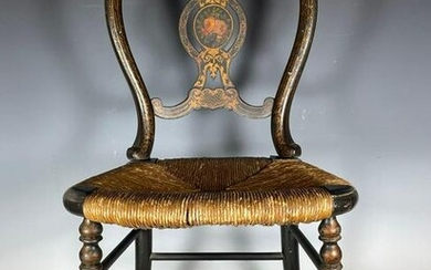 Early American Stenciled Rush Seat Chair