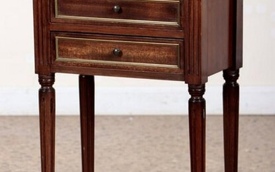 FRENCH MAHOGANY MARBLE TOP NIGHT STAND C.1940