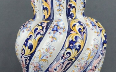 Floor vase, polychrome painted with yellow-blue decoration on a white and blue ground, 20th century
