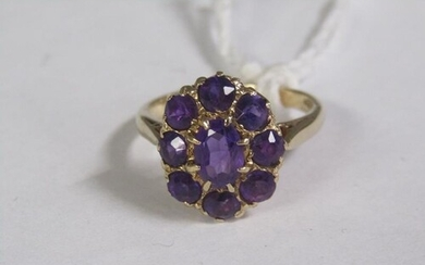 GOLD AMETHYST CLUSTER RING SIZE N