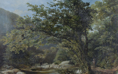 H. Barnard Gray - Anglers on a Riverbank, oil on canvas, signed and dated '57 recto, label vers
