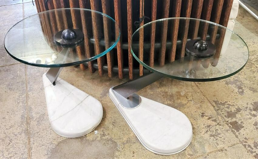 Italian 80s Glass And Marble and Glass Side Tables