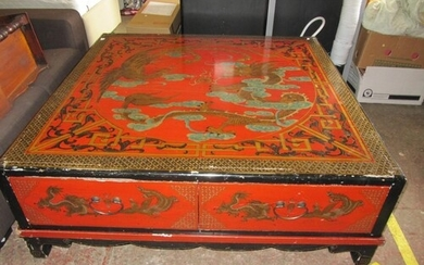 Large Red Oriental Coffee Table with 4 Drawers - Marks and c...