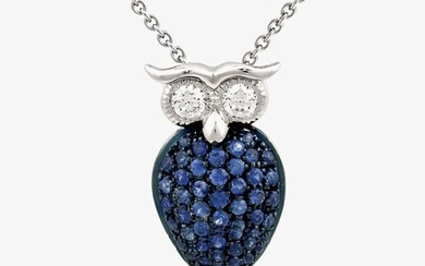 Leo Pizzo - 18 kt. White gold - Necklace with pendant - 0.47 ct Sapphires - Diamonds