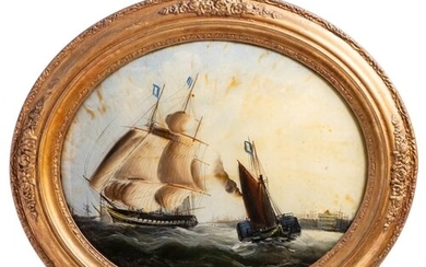 Mid 19th century English School Sailing Ship and a Paddle St...