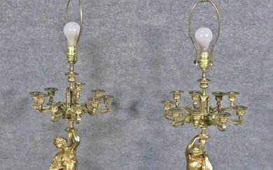 PAIR SIGNED BRONZE & MARBLE CANDLEABRA LAMPS