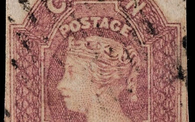 PENCE ISSUES - 4D DULL ROSE, WATERMARK LARGE STAR, USED IMPERFORATE