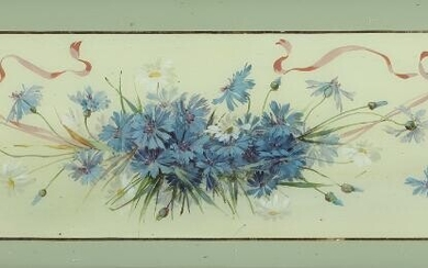 NOT SOLD. Painter unknown, 19th-20th century: Still life with flowers. Oil ond gold leaf on board. Visible size 32.5 x 100 cm. – Bruun Rasmussen Auctioneers of Fine Art