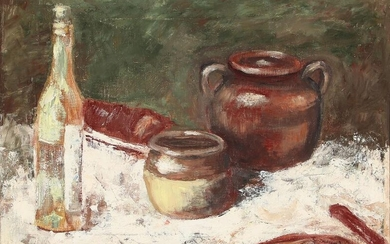 NOT SOLD. Painter unknown, 20th century: Still life. Indestinctly signed. Oil on canvas. 34.5 x 48 cm. – Bruun Rasmussen Auctioneers of Fine Art