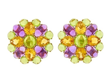 Pair of Gold, Peridot, Citrine, Amethyst and Diamond Earclips